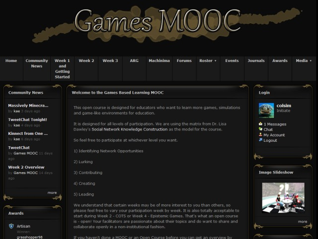 Screenshot of GamesMOOC homepage